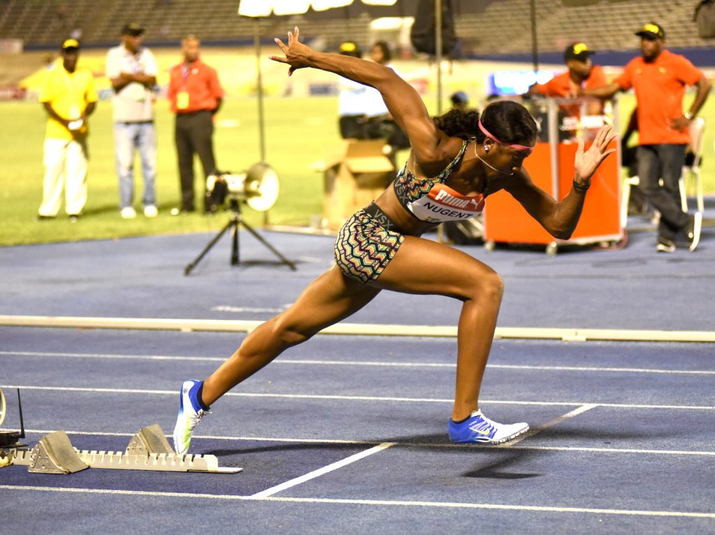 Leah Nugent starts in the final of the women's 400m hurdles at the Supreme Ventures Jamaica Championships on July 1, 2016