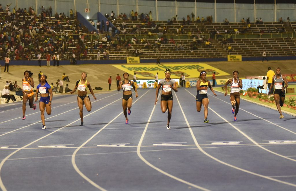 The men's 100m final at the Supreme Ventures Jamaica Championships won by Elaine Thompson in a Jamaican record 10.70 on July 1, 2016