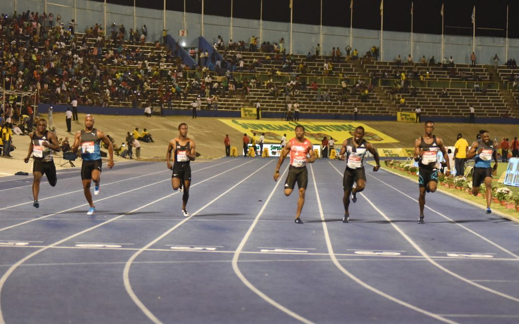 The men's 100m final at the Supreme Ventures Jamaica Championships won by Yohan Blake on July 1, 2016
