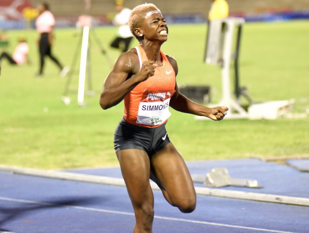 Megan Simmonds wins the women's 100m hurdles final in 12.79, personal best, ahead of Shermaine Williams 12.96 and Nickeisha Wilson 12.97...Danielle Williams did not finish #JamaicaTrials #Rio2016