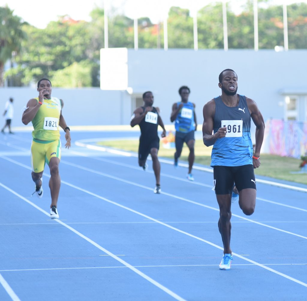 Deon Lendore of Trinidad and Tobago wins the men's 400m at the Blue Marlin Track and Field Classic on July 10, 2016