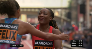 Marie Josee Ta Lou beat Allyson Felix at Friday's (18 May) Arcadis Great City Games Invitational.