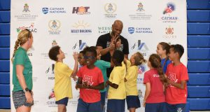 Asafa Powell school visit at Cayman Invitational 2018