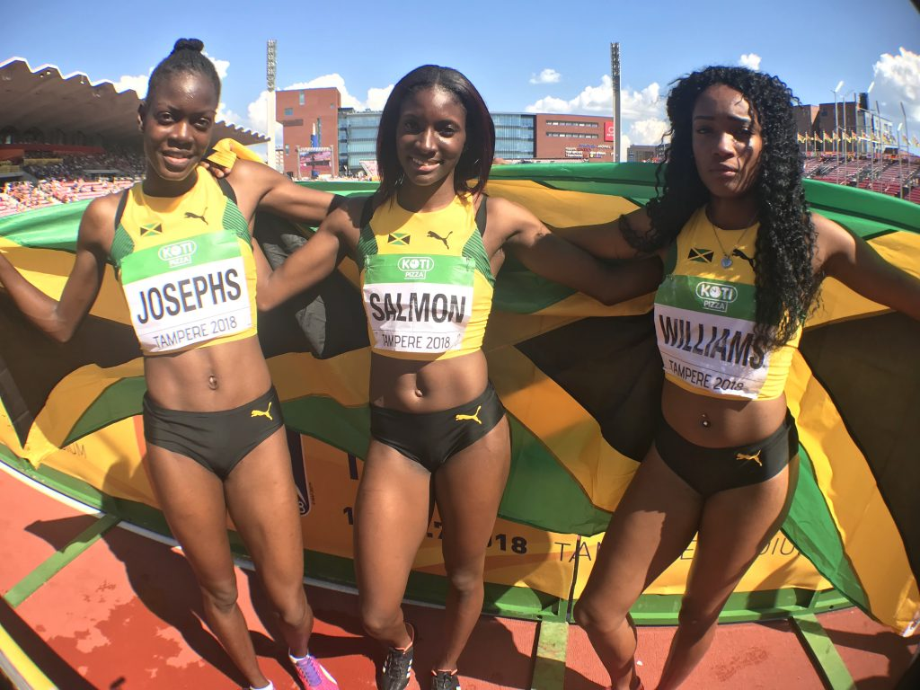 Three members of Jamaica's 4x400m, from left, Janielle Josephs, Shiann Salmon and Stacey-Ann Williams after their bronze medal performance at the World U20 Championships 2018