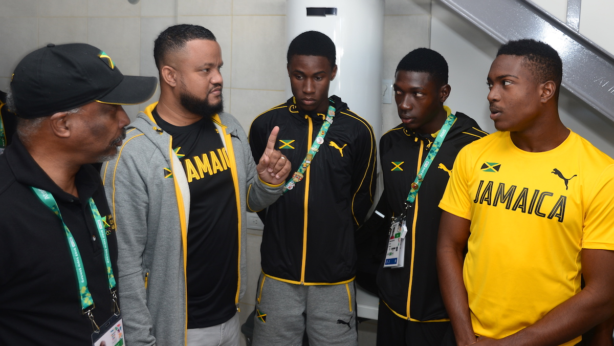 President and CEO of the JOA, Christopher Samuda and Ryan Foster arrived in Buenos Aires, Argentina. They are pictured here chatting with members of male team ahead of the Youth Olympic Games in Buenos Aires, Argentina ----- Photo by Collin Reid courtesy JOA