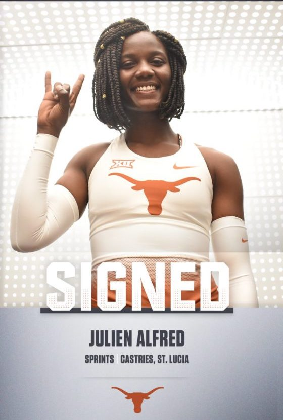 Julien Alfred --- Saint Lucia sprint sensation signs with Texas