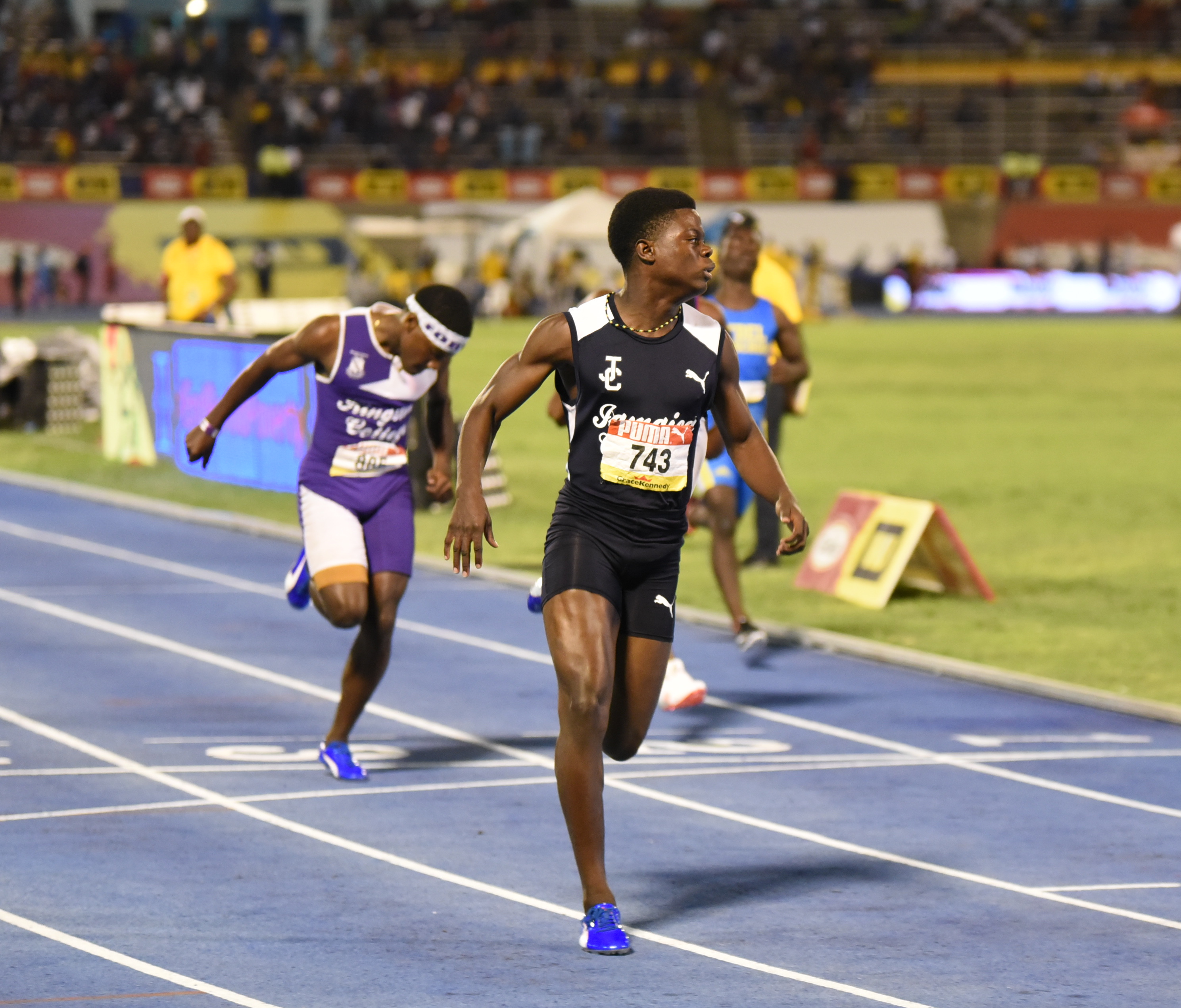 Christopher Scott's Class 3 victory of 10.73, earning Jamaica College (JC) 10 points at Champs 2019