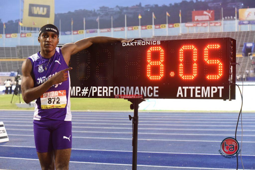 Wayne Pinnock broke the Champs Class 1 boys' long jump record with 8.05m