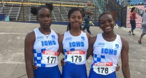 Immaculate sprinters, from left, Chanel Honeywell, Gabrielle Lyn and Onanda Lowe, were 5th (12.55), 4th (12.54) and 3rd (12.43) respectively in the U17 girls 100m final #CariftaGamesTrials2019