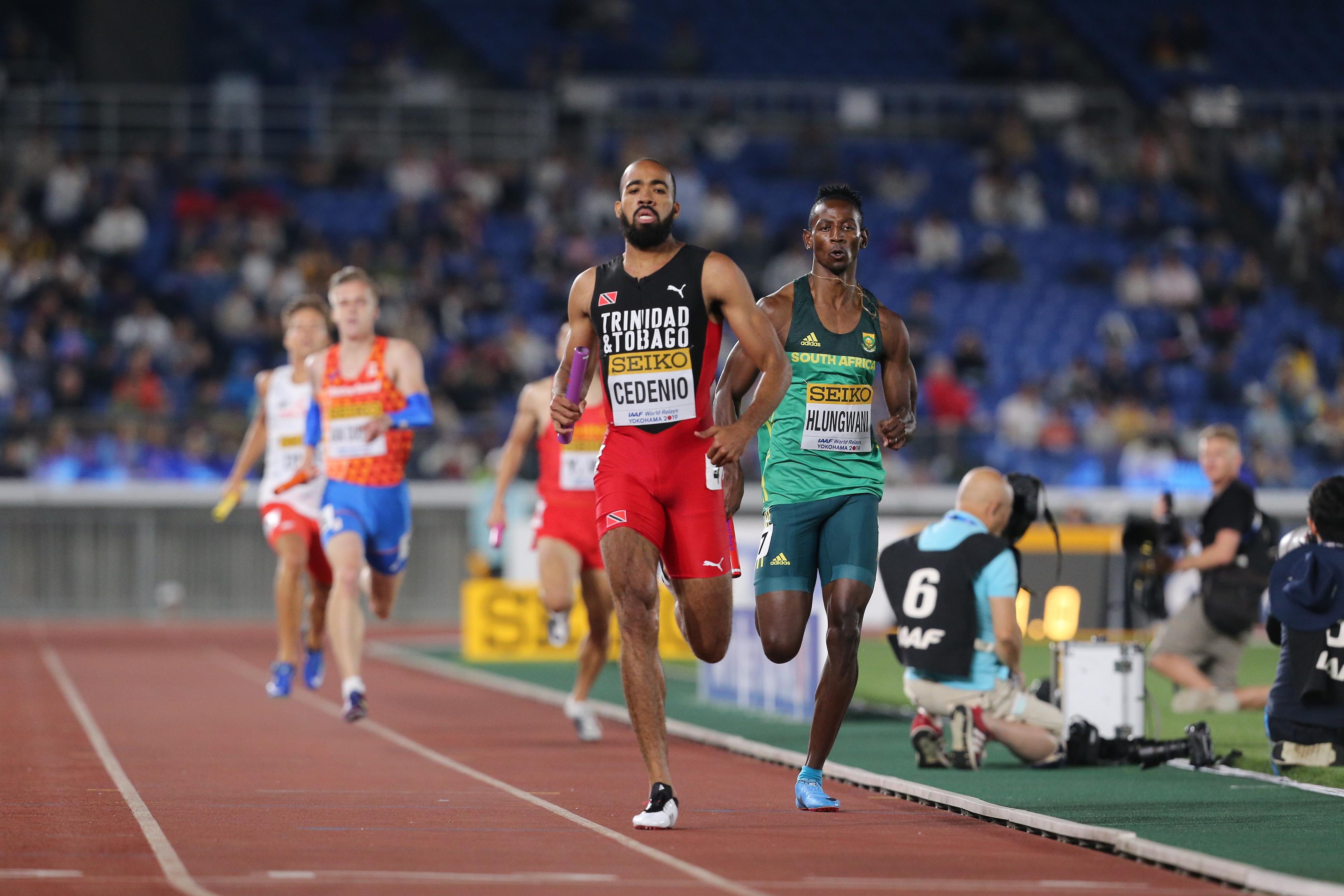 Machel CEDENIO TRI men 4x400 heats 2019-05-11 World Relays Yokohama 2019 by Roger Sedres