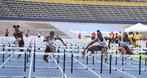 Janeek Brown at 2019 Jamaica Trials over the hurdles