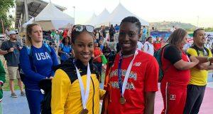 Briana Williams and Jöella K. Lloyd after the U18 girls' 100m final #nacacchamps2019