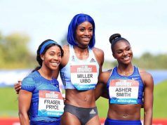 Miller-Uibo poses with Shelly-Ann Fraser-Pryce and Dina Asher-Smith