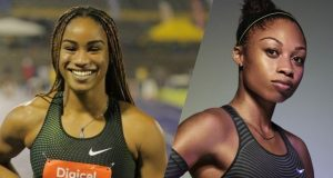 Briana Williams and Allyson Felix face off over 60m at the 113th NYRR Millrose Games