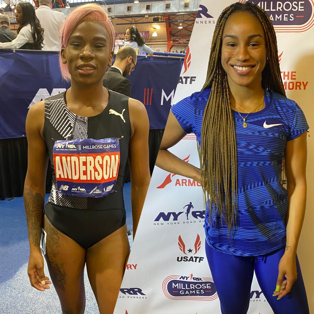 Briana Williams and Britany Anderson enjoy Millrose Games