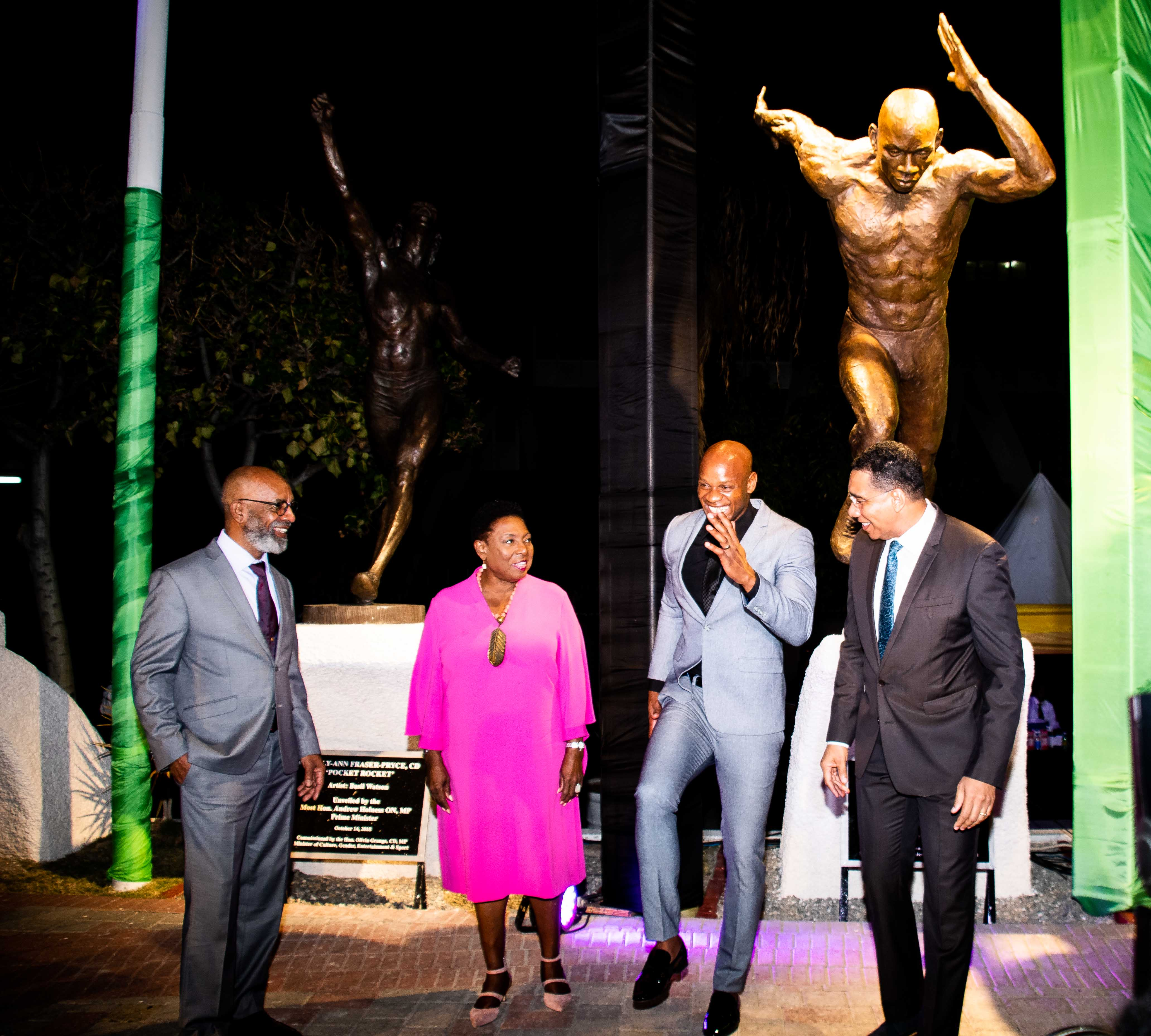 Asafa Powell statue unveil at the National Stadium in Kingston