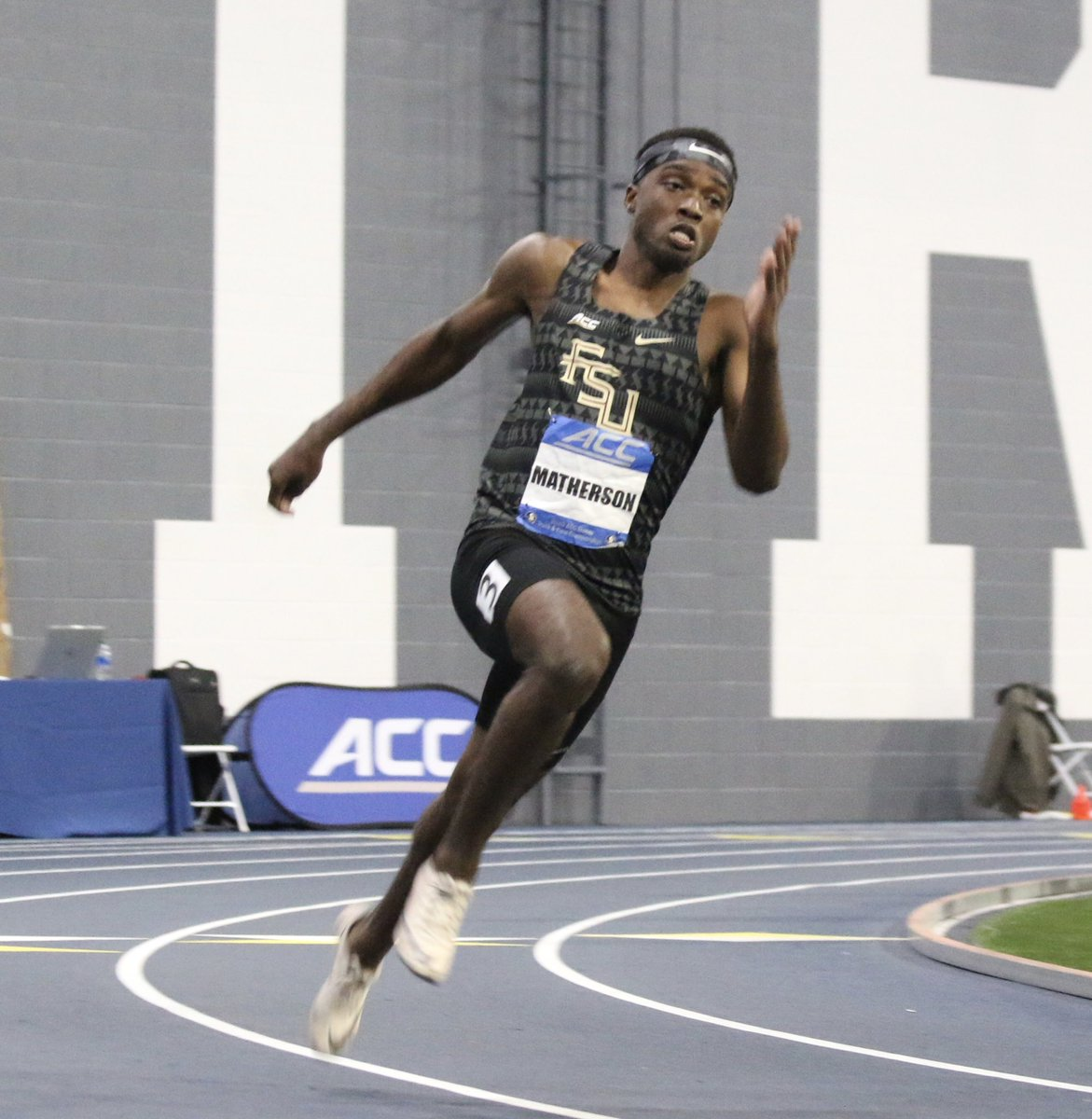 Jhevaughn Matherson ran his best 200m indoor time