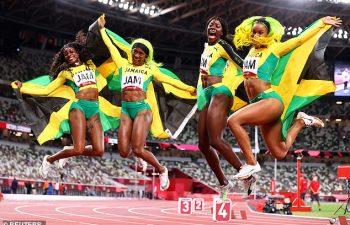 Jamaica women gold in 4x100m in Tokyo 2020