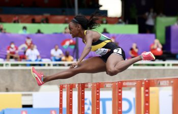 Ackera Nugent won gold for Jamaica in the women's 100m hurdles
