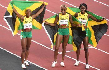 Tokyo 2020 Olympic Games 100m podium finishers Elaine Thompson-Herah, Shelly-Ann Fraser-Pryce, and Shericka Jackson in Paris Diamond League