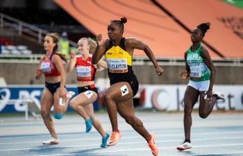 Tina Clayton wins the World Athletics U20 Championships 100m title ----- Photo by Dan Vernon